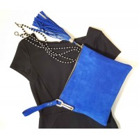 Blue Suede Chic Clutch Wristlet