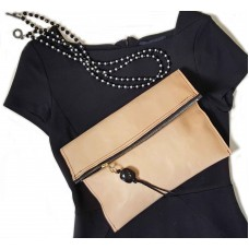 Natural Leather Fold Over Clutch