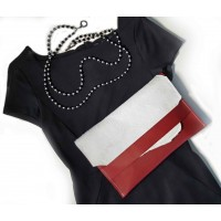 Cherry Red Leather Clutch with White Calf Hide