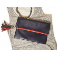 Navy Leather Fold Over Clutch
