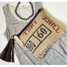 Graphic Burlap & Leather Clutch