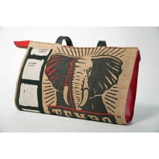 Elephant Upcycled Burlap and Leather Bag with Zipper