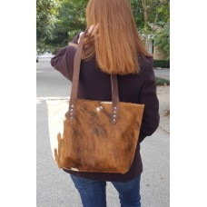 Chic Golden Brown and White Cowhide Tote