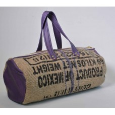 Leather & Burlap Duffel Bag