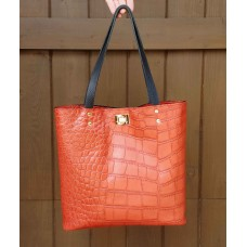 Slim City Tote - Rose Red Embossed Leather