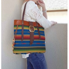 Southwestern Style Slim Leather Tote