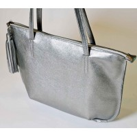 Gunmetal Metallic Silver Shoulder Bag